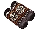 """Shopway Collection Chenille Bolsters Round Pillow Cover - 30""""x16"""", Set of 2, Coffee"""