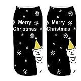 VJGOAL Moda casual Cómoda Navidad 3d tejido liso Estampado fino Algodón Calcetín Zapatillas Short Tobillo Calcetines(Un tamaño,Multicolor2)