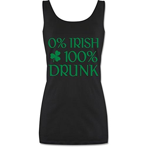 St. Patricks Day - 0% Irish 100% Drunk St Patricks Day - XL - Schwarz - P72 - lang-geschnittenes Tanktop für Damen