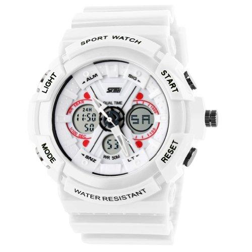 Sportuhr, analog / digital, unisex, modisch, wasserfest, duale Zeitanzeige, Alarmfunktion, LED, 0966, Herren, weiß (G-shock-watch-gelb Und Schwarz)