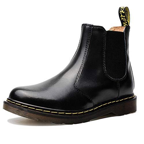 Chelsea boots uomo in pelle nera formale sicurezza brogue classico martin stivali stivaletti stivali di pelle casual,black-41