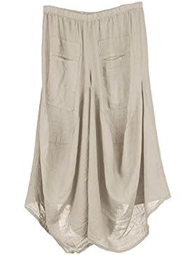 TEXTURE Ladies Womens Italian Lagenlook 2 Slit Pocket Linen Pants Trousers One Size