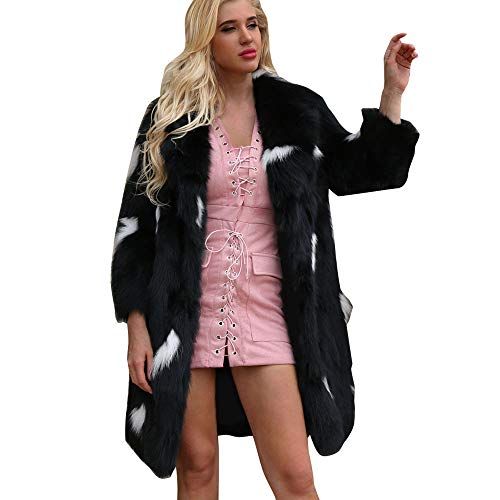 Cappotto popolare autunno e inverno, sonnena cappotto lungo da donna con risvolto lungo e caldo inverno giacca soprabito outwear cappotto lungo in pelliccia sintetica a maniche lunghe