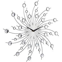 Relaxdays Reloj Pared Grande Decorativo, Hierro, Plateado, 50 cm, Palteado, 50 x 50 x 4 cm