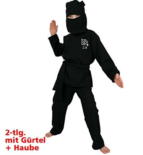Kostüm Sensei Meister - Kinderkostüm Ninja 2-TLG. Gürtel und Haube Ninja-Kostüm Assassine Krieger Kostüm für Kinder