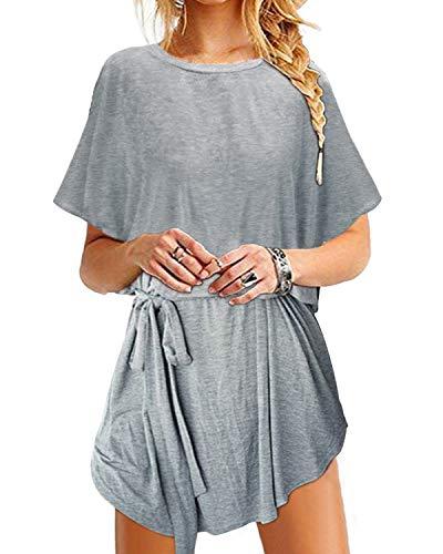 YOINS Sommerkleid Damen Tunika Tshirt Kleid Bluse Kurzarm MiniKleid Boho Maxikleid Rundhals Bindegürtel-Grau EU46