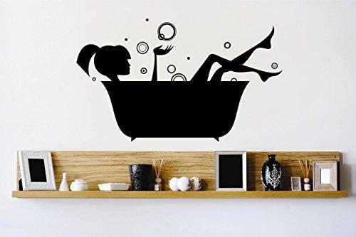 Design mit Vinyl 2015BS 944,9cm Badewanne Blasen Wasser waschen Entspannende Wand Aufkleber, 50,8x 101,6cm schwarz -