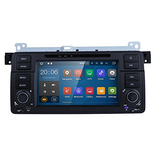 Android 7.1 QUAD Core Autoradio Moniceiver für BMW 3er E46 mit Bluetooth Navi ( 16GB + 2GB ) Unterstützt DAB+ WLAN Mirrorlink OBD2 Subwoofer USB MicroSD DVD CD Player 7 Zoll Display