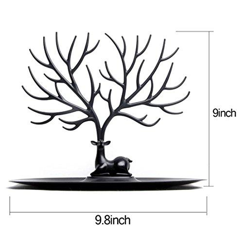 Schmuckständer, iTECHOR Kreative Sikawild Baum Schmuck Zahnstange Gestell Regal Ständer Halter Regallager Ausstellungsstand Organisator Schmuckständer für Ohrring Halskette Armband Ring und andere Schmuck---Schwarz - 4