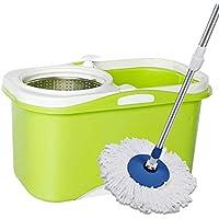 """Nianle Spin Mop Bucket System - con Mango extendido silencioso de 50"""", 2 Ruedas, 2 Cabezas de Repuesto de Microfibra, Salida de Drenaje, dispensador de detergente, para la Limpieza del hogar"""