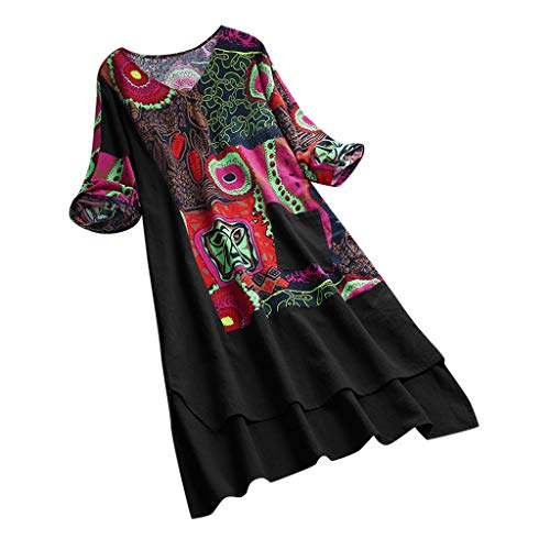 MCYs Women Vintage Patchwork Dress High Low Hem Boho Print Half Sleeves Pocket Dress Lässiges Kleid Aus Baumwolle Und Leinen Mit Losen Böhmendrucknähten Und Halben Ärmeln -