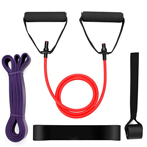 Odoland Widerstandsbänder mit einzelnen Widerstandsstreifen, Hochziehbänder, Schlaufenbänder und Türanker - Mittelbeständig Ideal für Crossfit, Yoga und Booty Building 80 Lb Arm