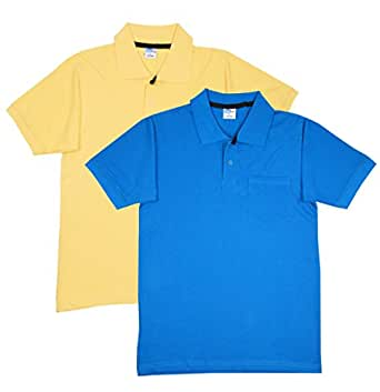 Fleximaa Men's Cotton Polo Collar T-Shirts With Pocket Combo (Pack of 2) - Yellow & Turquoise Blue Color.(cfpyellow-blue-s)