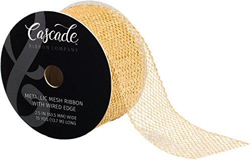 Fair Isle Cascade Metallic Mesh Ribbon W/Wired Edge 2-1/2