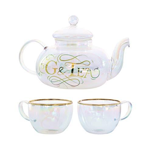 G&Tea Luxus Gin und Tonic Infuser Geschenkset | Regenbogenfarbene BorosilikatglasTeekanne mit 2 Gläsern, ideal für Gin, Cocktails und loser Tee, 800ml von Root7
