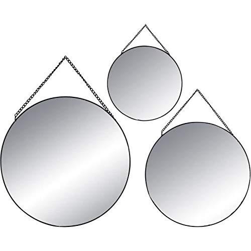 ATMOSPHERA Spiegel, rund, schwarz, 3 Stück in verschiedenen Größen