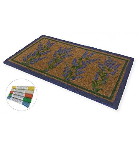 tex family Teppich Fußmatte Lavendel 4Sträußen + Netz Rutschfest Plus lvnd4maz