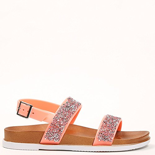 Ideal Shoes–Flache Sandale mit Flansch aus Gummi mit Strass-Giovana Pink - Rosa