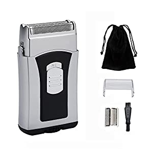 Men's Foil Travel Shaver Tongtletech Electric Beard Razor Reciprocating Mini Washable Wet/Dry Hair Trimmer, Battery Operated