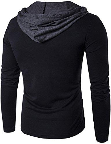 Whatlees Herren Urban Basic reguläre Passform lang arm Langes T-shirt mit Kapuzer aus weiches Jersey B414-Black