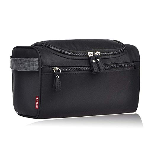 RIFIANS - Trousse de Toilette SPACIEUSE (L25xl14xH15 cm) - QUALITE PREMIUM avec Crochet de Suspension + Compartiments - trousse toilette Voyage Homme & Femme - FONCTIONNELLE, Solide, Simple, Efficace