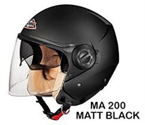 SMK Cooper Open Face Duel Visor Designer Helmet , COOPER MATT BLACK MA200 , Matt Black , S - 55 Cms , Plain Visor