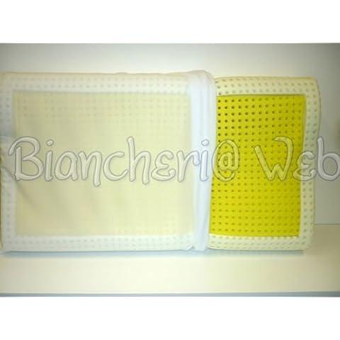 Biancheriaweb - Cuscino guanciale lattice giallo anti zanzare\insetti anallergico made in italy; Ergonomico (cervicale)