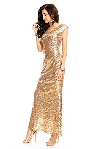 Mayaadi langes Paillettenkleid für Partys Cocktailabende und festliche Anlässe WJ-7259 Gold S - 3