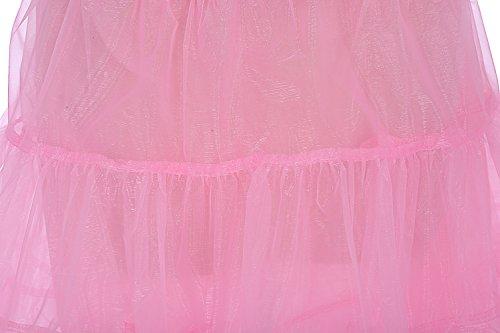 Dresstells 50s Sottogonna Petticoat organza retro vintage mini gonne puffy Rockabilly Rosa