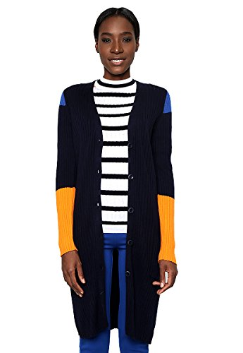 Ribbed Knit Jacke (United Colors of Benetton Damen Longline Ribbed Knit Cardigan Strickjacke, Blau (Navy), Small)