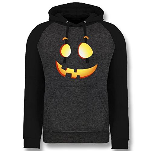 Shirtracer Halloween - süßer Halloween-Kuerbis Kinder - M - Anthrazit meliert/Schwarz - JH009 - Baseball Hoodie
