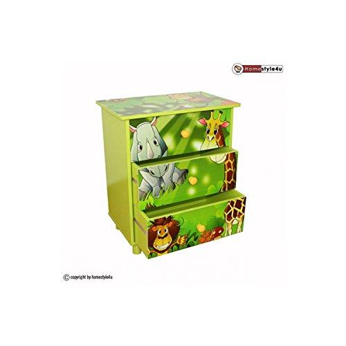 Commode Enfant 3 tiroirs meubles bois Jungle