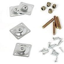 Cusfull 4 Placa de Montaje de Metal para Patas/ Piernas de Mesa, Tornillos Adaptadores, Tuerca, Pernos,28 Piezas Accesorio para Sillas Maderas Sofás Muebles