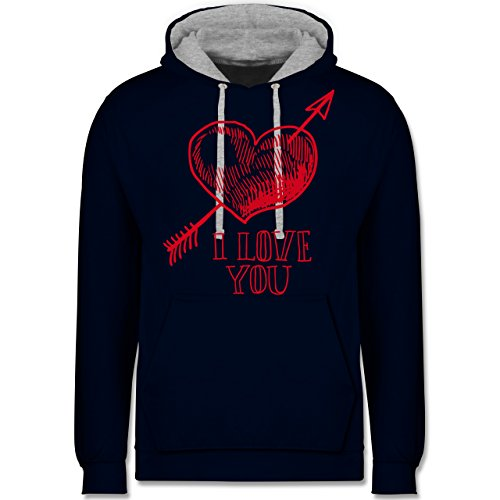 Shirtracer Valentinstag - Herz I Love You Pfeil - S - Navy Blau/Grau meliert - JH003 - Kontrast (Cupid Frauen Kostüme)