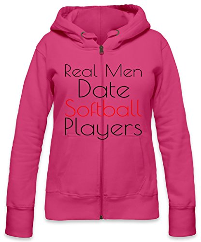 Real Men date Softball Players Slogan Womens Zipper Hoodie Small -