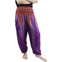 Lofbaz Mujer Pantalones Harem Boho de cintura alforzada del Flaral Espiral