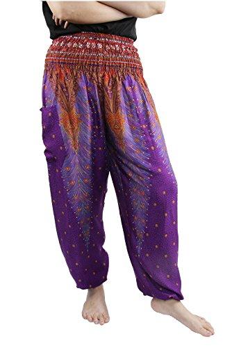 Lofbaz Donna Smocked Waist Boho Harem Pantaloni Peacock 1 Viola C
