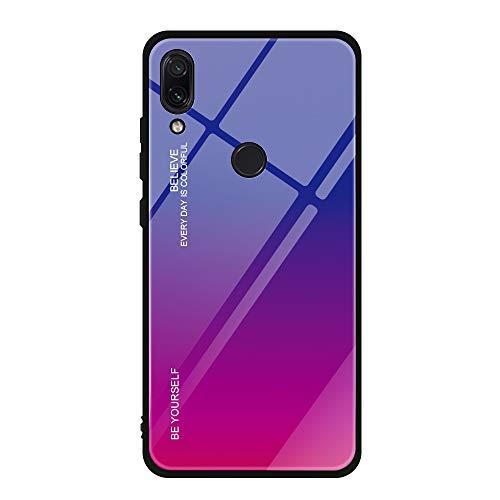 Funda Compatible/Reemplazo para Xiaomi Redmi Note 7 Cubiertas Vidrio Templado Cubierta Trasera Gradiente Color + Suave Silicona Borde de TPU Bumper Protectora Carcasas Case (Azul Rojo)