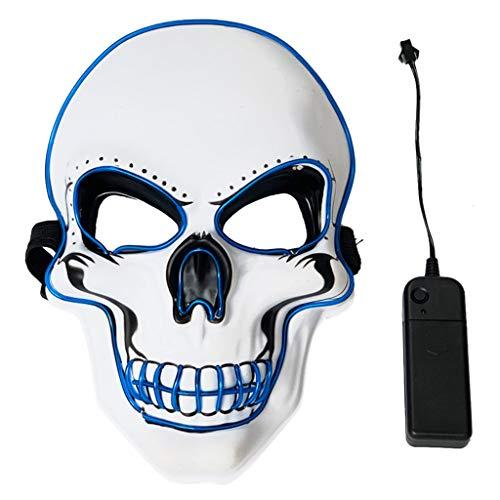 chenpaif Männer Frauen Halloween Scary Maske EL Draht LED Leuchten Kostüm Tod Schädel Geist Kürbis Cosplay Festival Party Dekoration Requisiten - Geist Halloween Scary Kostüm