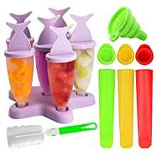 Ice Lolly Moulds, Gyvazla Reusable Ice Pop Mould Set, 8pcs Ice Lolly Makers, 3Pcs Silicone Popsicle Molds, Silicone Folding Funne, Clean Brush, Popsicle Molds Set for Kids Adults DIY Popsicle Mold