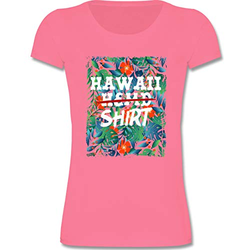 Karneval & Fasching Kinder - Hawaii Hemd Shirt - 140 (9-11 Jahre) - Rosa - F131K - Mädchen Kinder T-Shirt