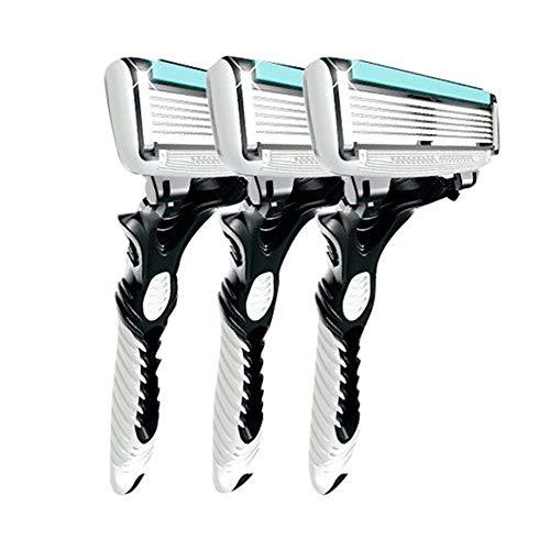 3 Stücke Männer Sicherheit Traditionelle Klassische 6 Schichten Rasieren Haar Klinge Rasiermesser Manuelle Edelstahl Rasieren Haar Klinge - White & Blue