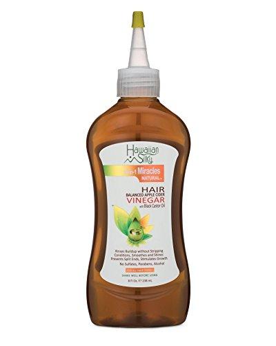 Hawaiian sedoso vinagre de sidra de manzana con aceite de ricino negro instantáneo - sin sulfato, sin desenredador de pelos, PH Balancer 8 oz