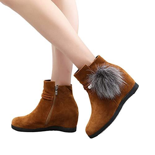 MYMYG Frauen Chelsea Boots Stiefel Wildleder Haarballen Round Toe Wedges Schuhe Reine Farbe Reißverschluss Stiefel Western Cowboy Ankle ()