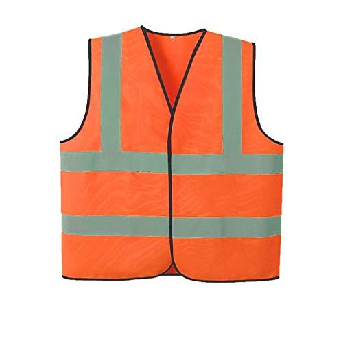 Warnweste Reflektierende Weste Weste Hygiene Reinigung Fluoreszierende Jacke Straßenbau Verkehrssicherheit Schutzkleidung Reflektierendem (Color : Orange, Größe : L)