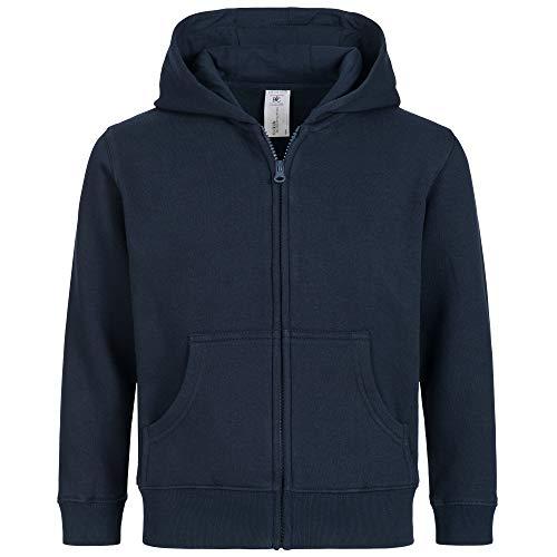 Kinder Kapuzenjacke für Mädchen & Jungen | Schadstofffrei | Öko Tex & Fair Wear Zertifiziert | Zipper mit Reißverschluss in Blau, Gr. 134-146 Jungen Zipper