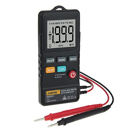 Digitales Multimeter, Zähler, Mini-Spannungsmesser, Messen von Spannung, Strom, Widerstand, Kapazität, Amperemeter, LED-Beleuchtung, tragbar, Schwarz