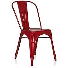 Hjh OFFICE 645021 Bistrostuhl VANTAGGIO Comfort Metall Rot Stuhl Im Industry Design Stapelbar