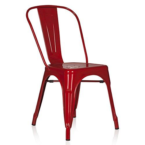 Französisch Esszimmer-möbel (hjh OFFICE 645021 Bistrostuhl VANTAGGIO Comfort Metall Rot Stuhl im Industry-Design, stapelbar)