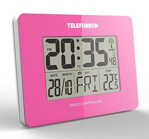 Wecker Funkwecker Funkuhr Funk digital LCD DCF Funk Uhr mit Thermometer Kalender Innentemperatur Wochentag Datum Monat 10 x 3,5 x 7,5 cm pink TELEFUNKEN FUD-40 (PI)